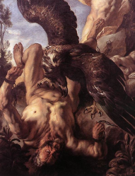 Prometheus's punishment by Zeus (J. Jordans, 1640)